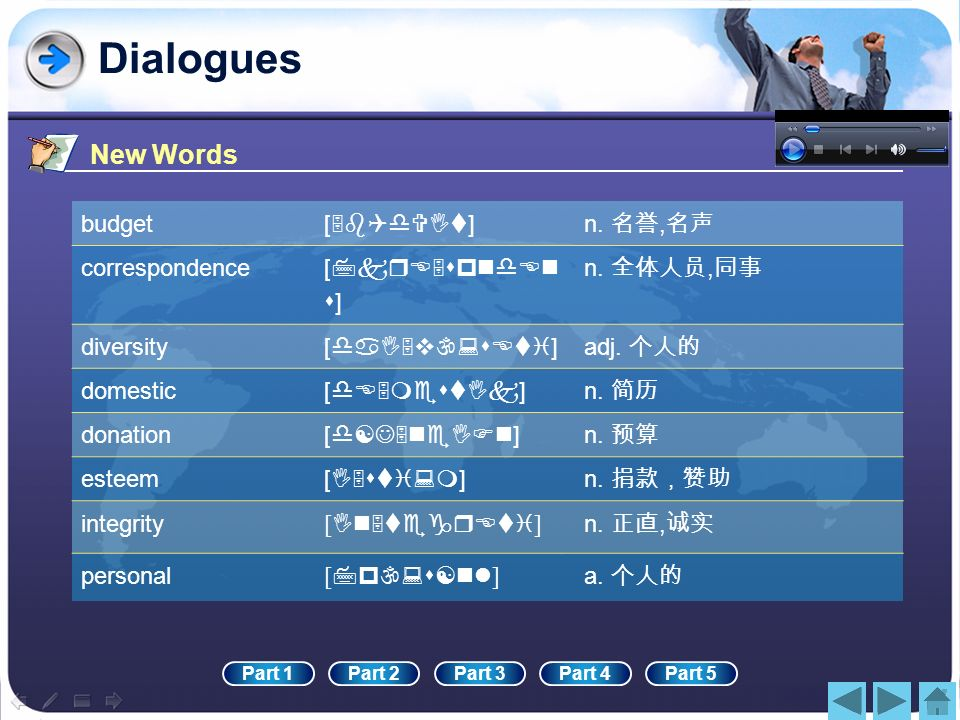 Dialogues New Words budget [5bQdVIt] n. 名誉,名声 correspondence